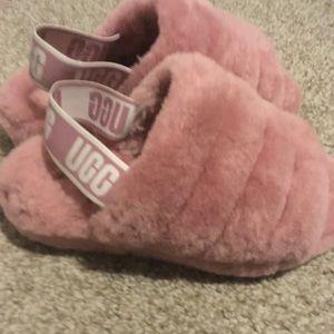 Ugg Fluff Yeah Pink shearling slingback Sandals